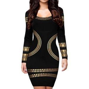 Dresses & Skirts - Sexy Kim Egypt Gold Foil Print Cocktail Pencil Dre